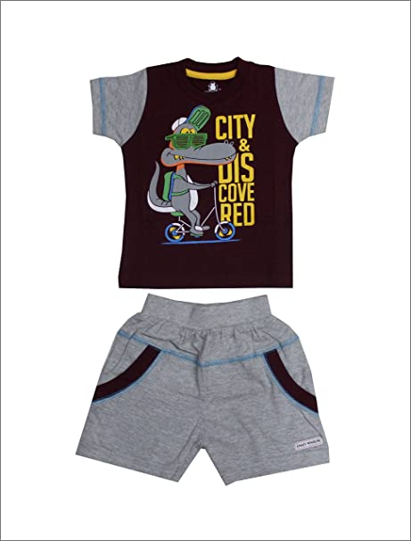 1a81f99a0 Crazy Penguin Printed Cotton T-Shirt and Pant 2 Piece Set/Half Baba Suit  for Boys: Amazon.in: Clothing & Accessories