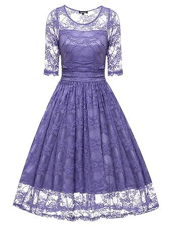 Gigileer Vintage Spitze Damen Kleid Knielang Kurzarm Cocktail Swing ...