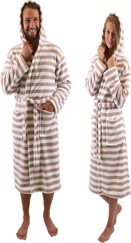 TALLA S/M marron. BETZ Albornoz Bata de baño Sauna con Capucha para Mujeres y Hombres ROM de Color marrón-Blanco Tamaño S/M Marron