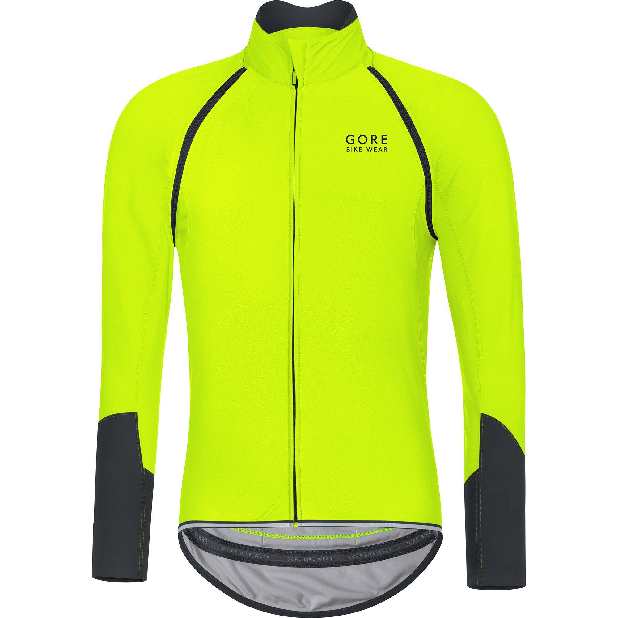 GORE BIKE WEAR Men's Cycling Jersey, Detachable Sleeves, GORE WINDSTOPPER Soft Shell, POWER, Size: XXL, Neon yellow/Black, SWZOPO