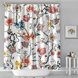 MACOFE Shower Curtain Flower Shower Curtain Art Print Polyester Fabric, Waterproof, Machine Washable,Hooks Included,Bathroom Decoration Original Design Hand Drawing,71x71inch (Flower Vine & Snake) …