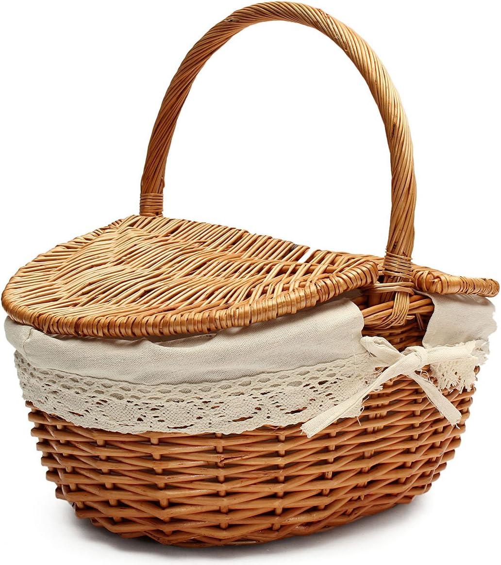 Eilane Handmade Wicker Basket Picnic Basket Shopping Storage Hamper with Lid Handle Wooden Color Wicker Camping Basket gaudily