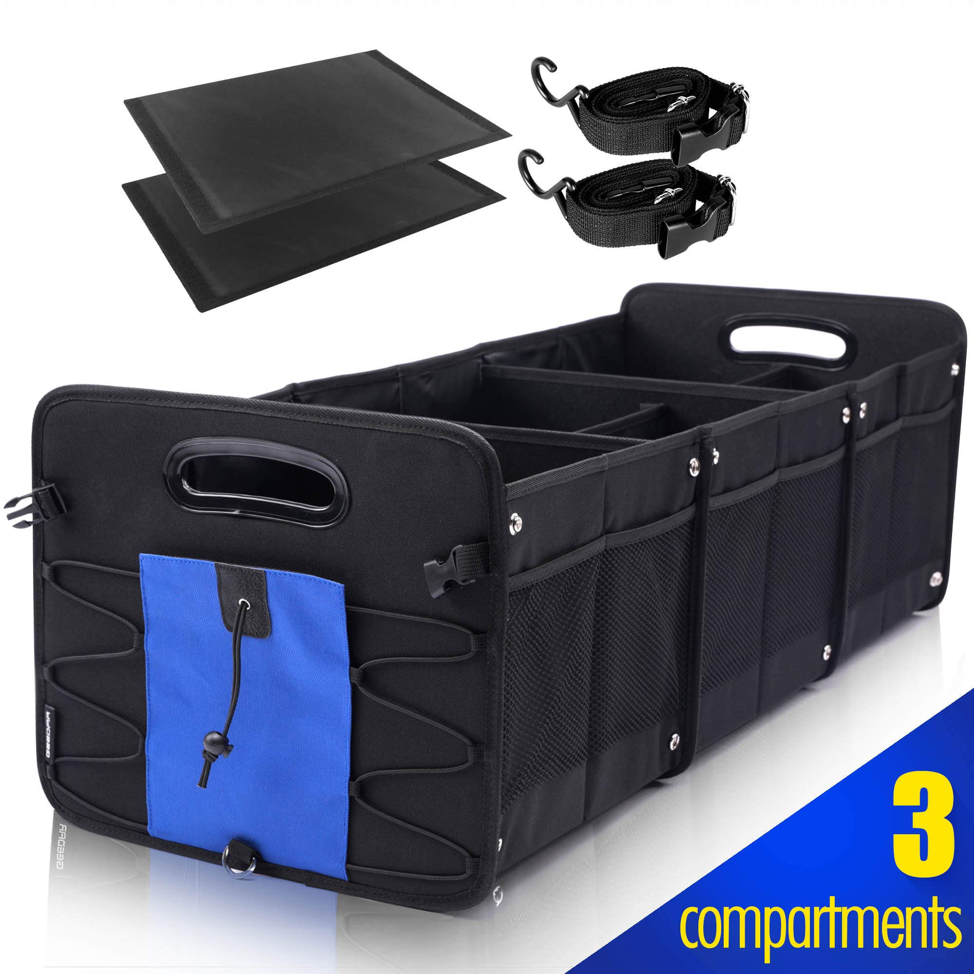 GEEDAR Trunk Organizer for Car SUV Trunk Organizers and Storage [3 Large Compartments] Collapsible Portable Non-Slip Bottom with Tie Down Straps (Blue) by GEEDAR
