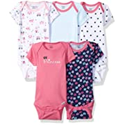 Gerber Baby Girls' 5-Pack Short-Sleeve Onesies Bodysuit, Pink Princess, Newborn