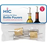 HIC Wine Liquor Bottle Stopper Pourer Tapered Oil Vinegar Dispenser Spout with Hinged Flip Top Lid, Splash and Drip Free, Stainless Steel and Natural Cork, Set of 2