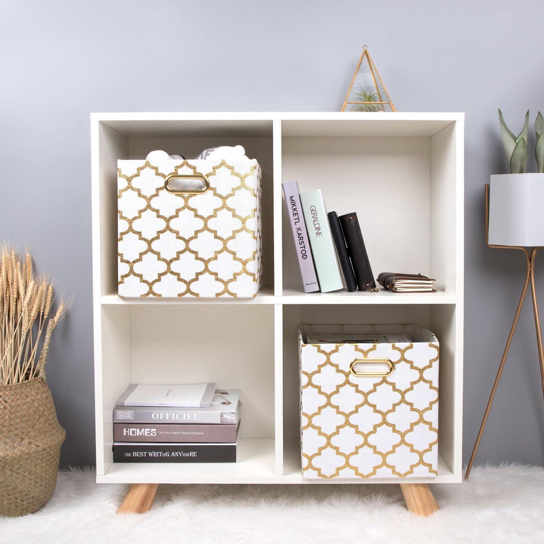 Foldable Fabric Storage Cubes Baskets Set of 2 Posprica Storage Boxes Cream lantern 33/×33/×33cm