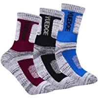 YUEDGE 3 Pairs Men's Outdoor Multi Performance Hiking Walking Adventure Sports Wicking Trekking Camping Cushion Socks