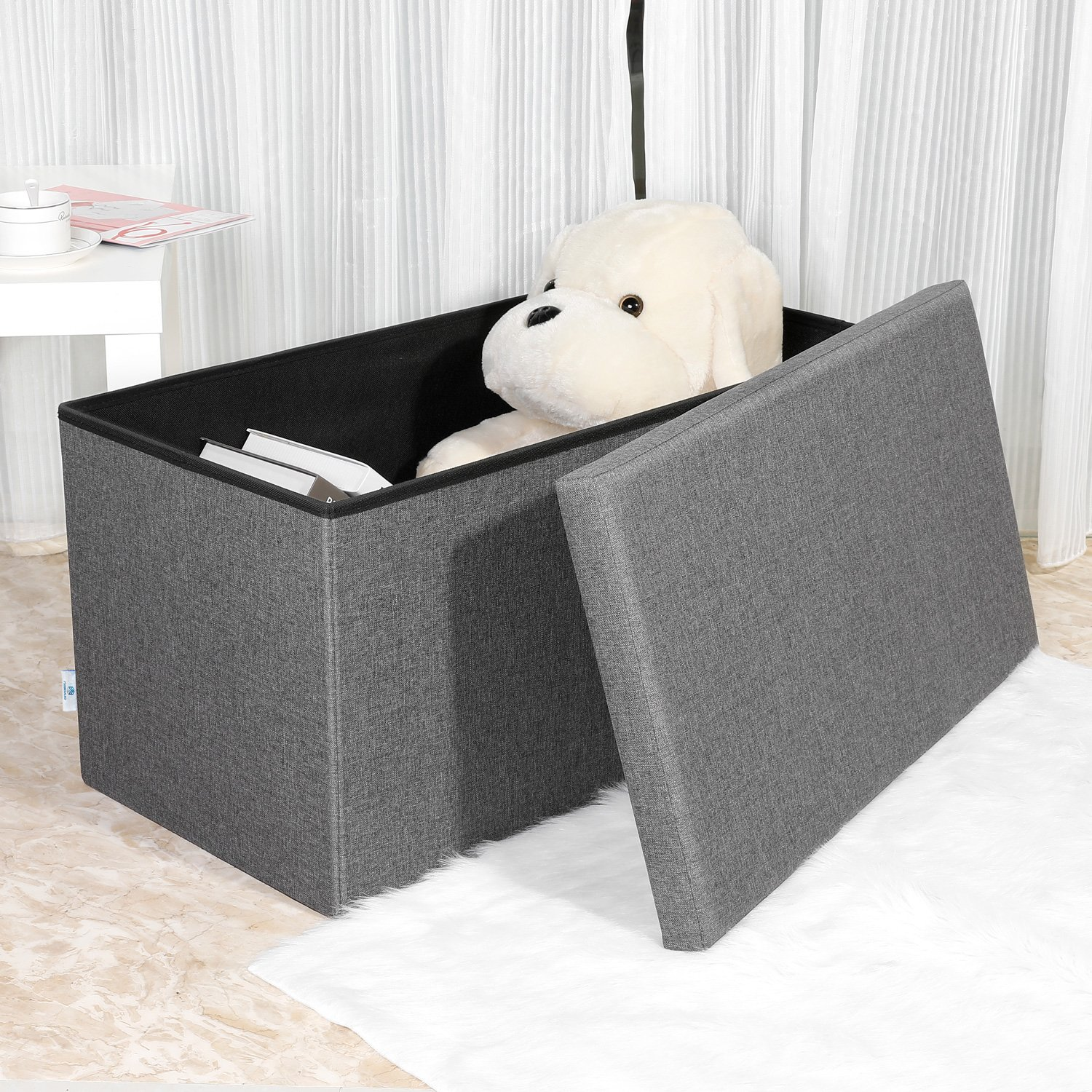 Footstool Coffee Table Tray: B FSOBEIIALEO Storage Ottoman With Tray, Linen Coffee