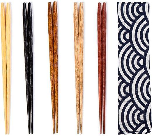 Juego de palillos reutilizables de bambú natural japonés, 5 pares, con estuche, como regalo: Amazon.es: Hogar