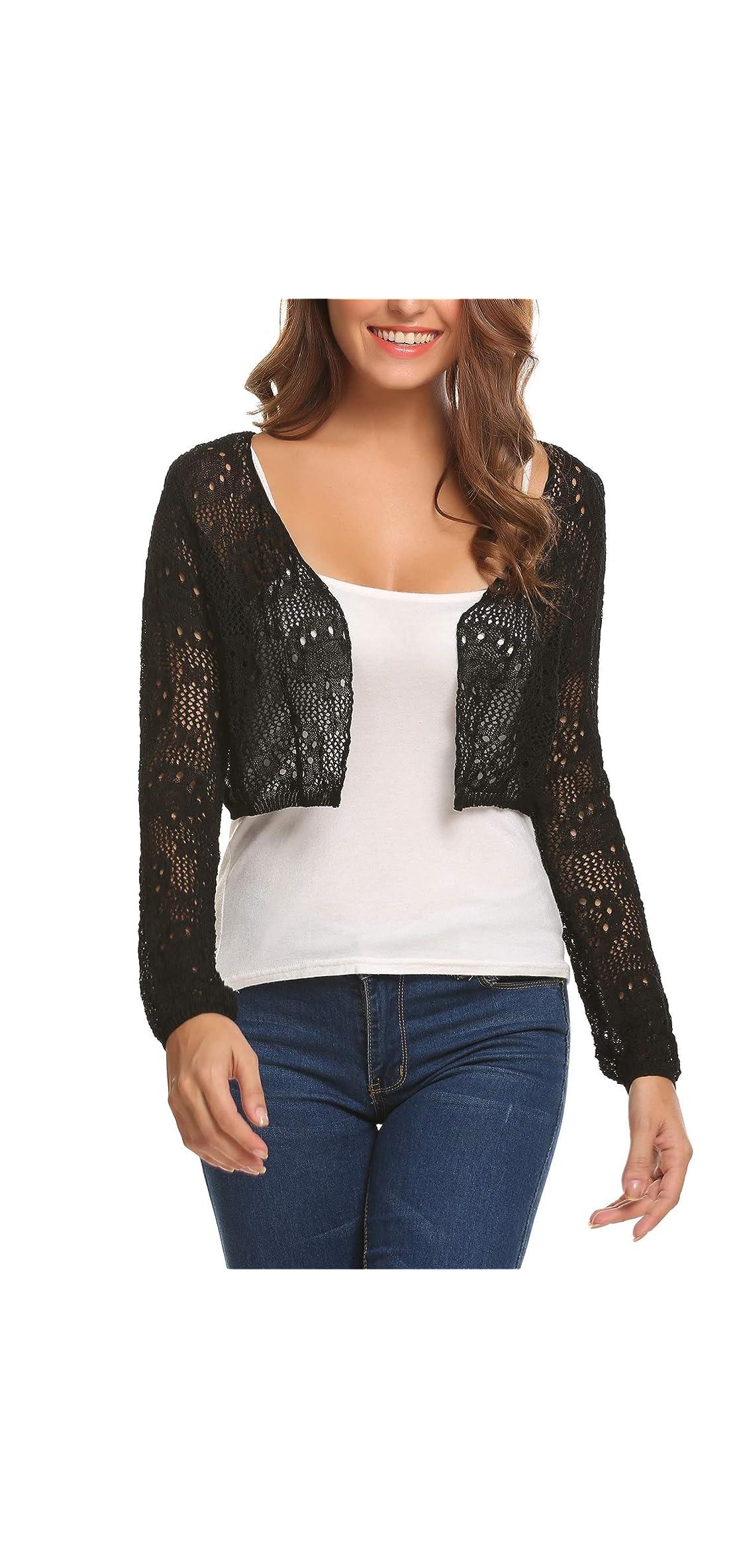 Womens Lace Crochet Bolero Shrug Tops Long Sleeve Knit