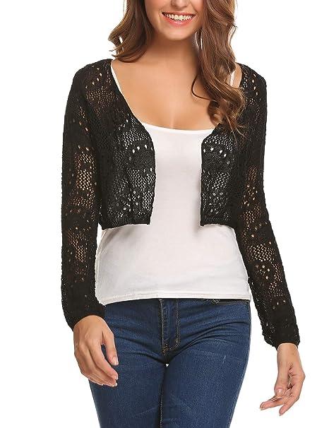 Zeagoo Ladies New Crochet Knitted Bolero Shrug Long Sleeve Open Sweater  Crop Cardigan Black S c962e1ee8
