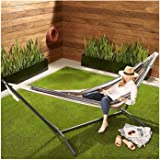 Hammock with Space Saving Steel Stand,Includes Portable Carrying Case,Urved Bar Design Ensures Comfort and Safety for Backyar