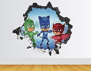 """PJ Masks Wall Decal Smashed 3D Sticker Vinyl Decor Mural Art Kids - Broken Wall - 3D Designs - AH57 (Small (Wide 22"""" x 16"""" Height))"""