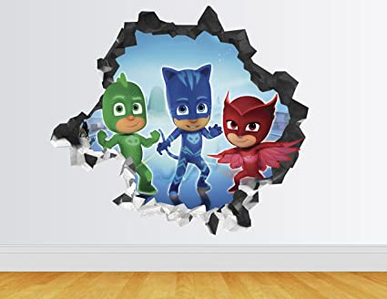 PJ Masks Wall Decal Smashed 3D Sticker Vinyl Decor Mural Art Kids - Broken Wall -