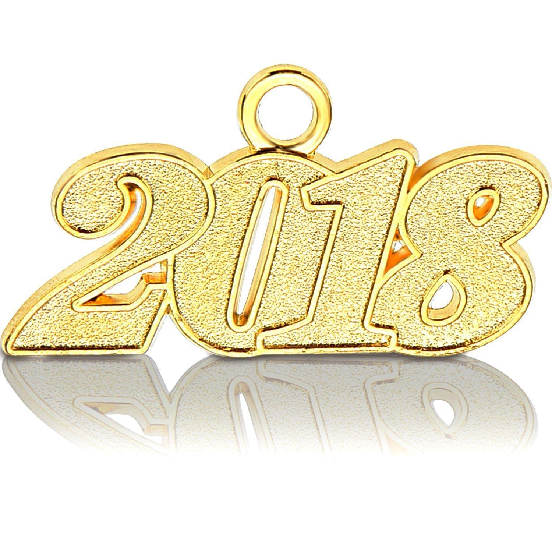 KAIMENG Grad Days 2018 Anno Signet Charm colore oro per laurea nappa