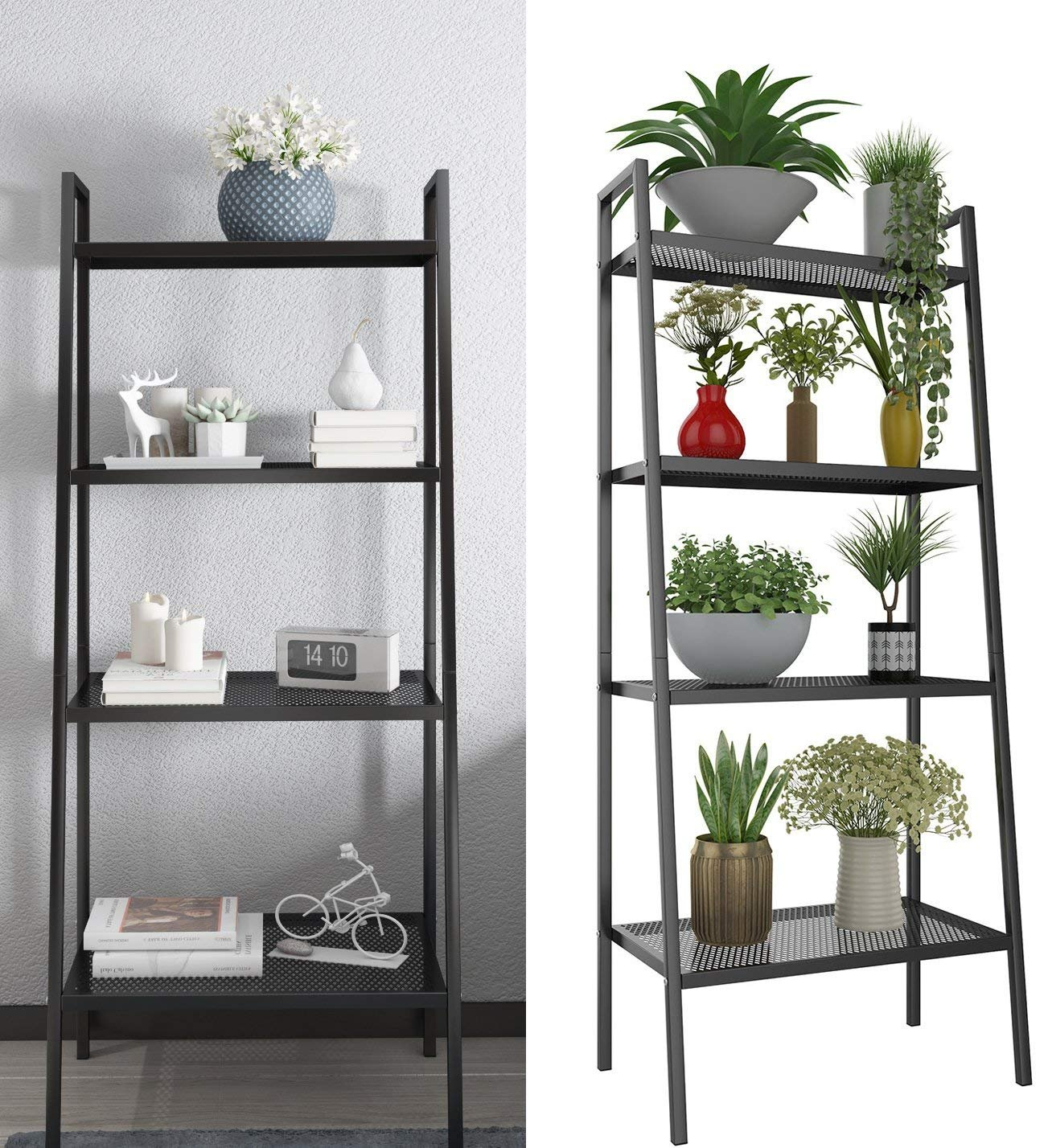 4 Tier Metal Ladder Bookshelf, Bookcase Plant Flower Stand Display Shelf Unit Storage Rack for Kitchen Living Room Bathroom Balcony Office (Ladder Shelf-4 Tier-Black) - ➤Simple & Stylish---Stylish look and simple design adds a modern touch to the facade of your home or business. Add this A-frame shelf to your office, bedroom or living room for an instant upgrade ➤Practical & Multi-function Use---The ladder shelf is both functional and versatile, it is a perfect addition to living rooms, bedrooms, kitchens, or any rooms that needs extra storage space. Various kinds of stuffs, such as decorative plants, photos, books, knickknacks, can get their position easily ➤Space-Saving---4-tier open shelving unit gives you ample area for placing toiletries, towels, sundries, shoes, books, plants, spice, or organizing books, office supplies, photo frames and other objects, and keeps your home neat, tidy and organized. You can place it in any limited space, in your bathroom, office or living room etc. - living-room-furniture, living-room, bookcases-bookshelves - 8142x8ypdIL -