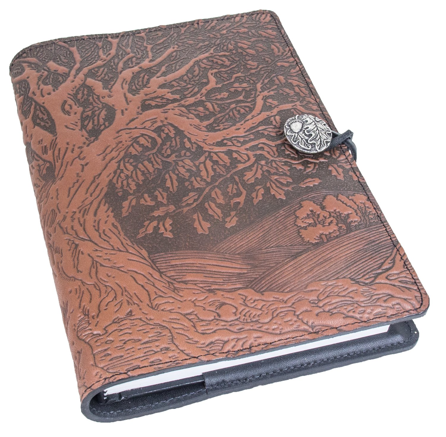 Genuine Leather Refillable Journal Cover + Hardbound Blank Insert - 6x9 Inches - Tree of Life, Saddle With Pewter Button - Made in the USA by Oberon Design