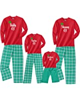 Footsteps Clothing Personalized Family Of Elves Matching Christmas Adult Pajamas & Kids Playwear; Choose Adult or Kids