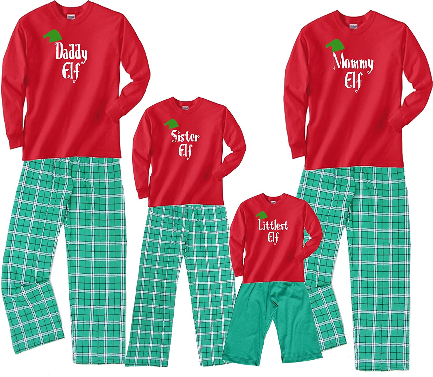 cfaedd2d1b Amazon.com: Footsteps Clothing Personalized Family Of Elves Matching  Christmas Adult Pajamas & Kids Playwear; Choose Adult or Kids: Clothing