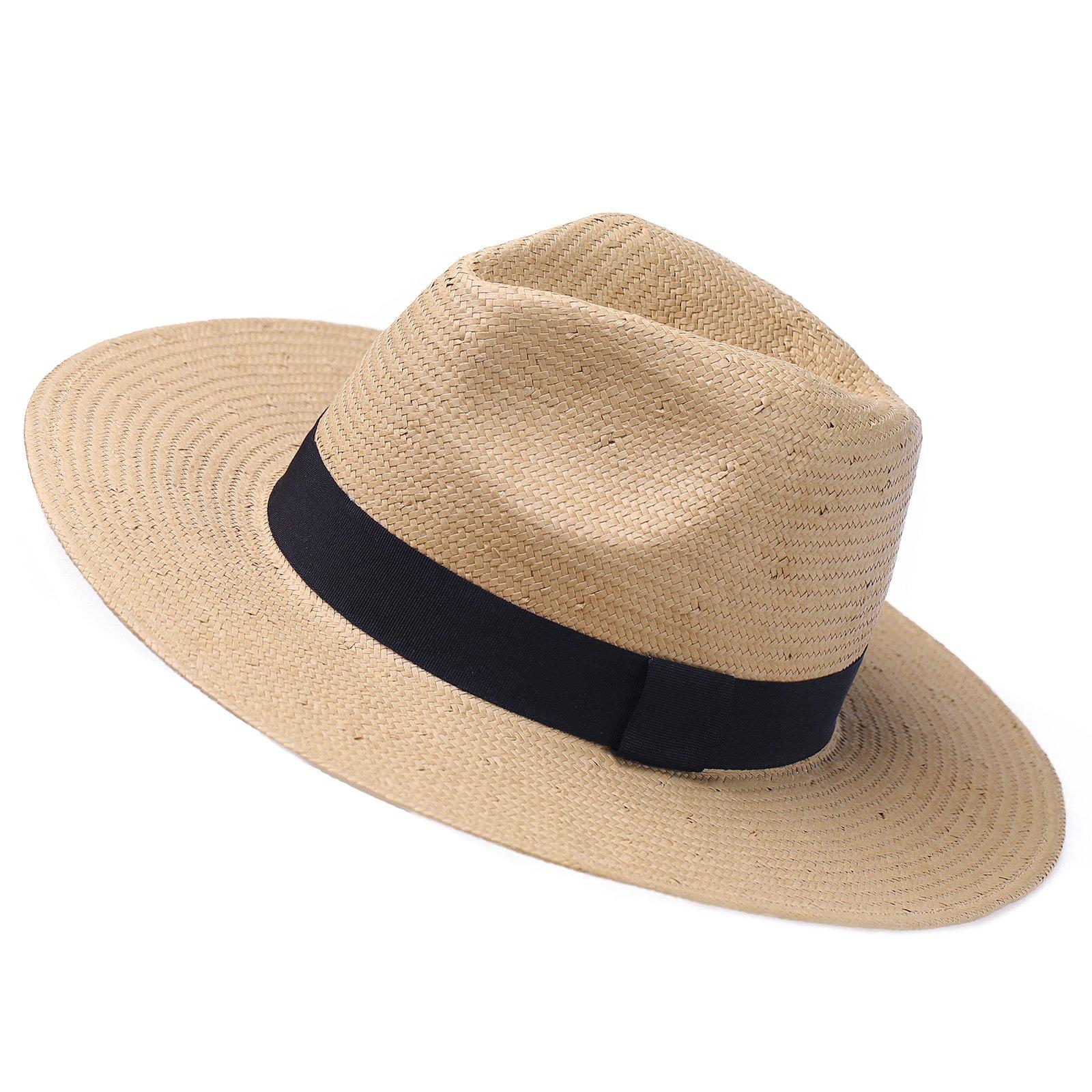 Janey&Rubbnis Summer Handmade Wide Brim Classic Fedora Natural Straw Panama Sun Hat (Medium (7 1/8~7 1/4) 58cm, Beige)