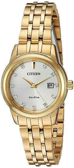 Citizen Diamond Reloj de mujer eco-drive 28mm correa de acero EW2392-54A: Amazon.es: Relojes