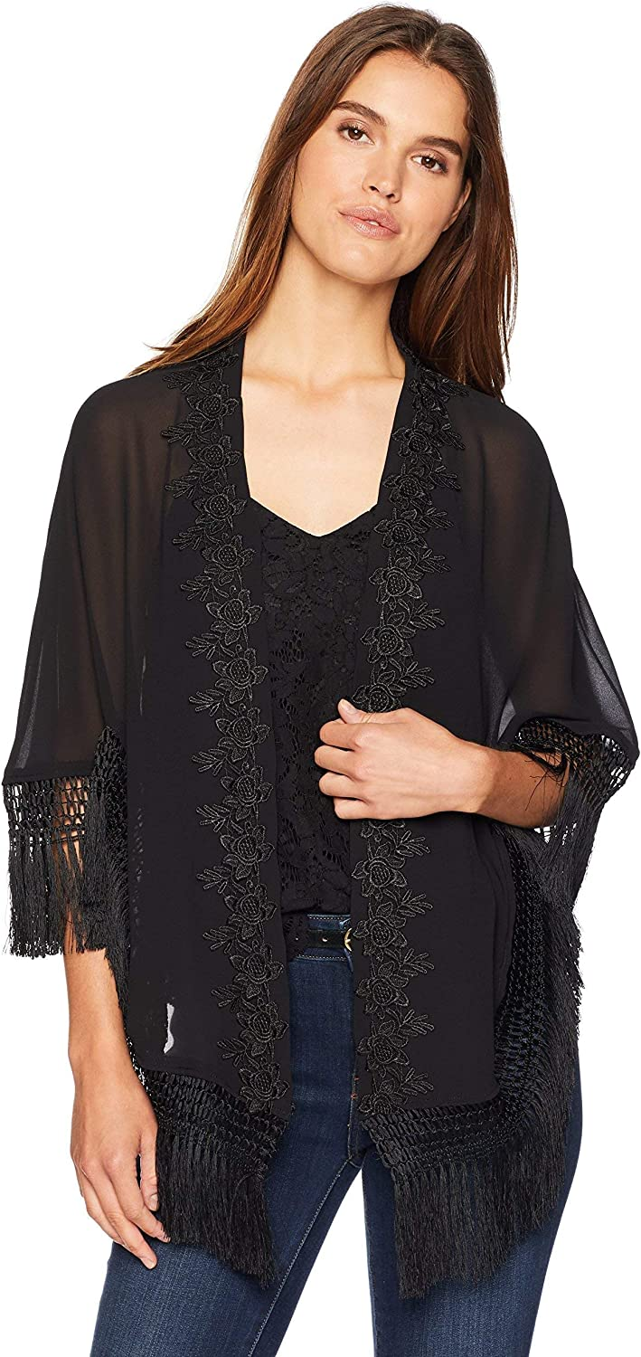 LAUNDRY BY SHELLI SEGAL Women's Sheer Kimono W/Lace
