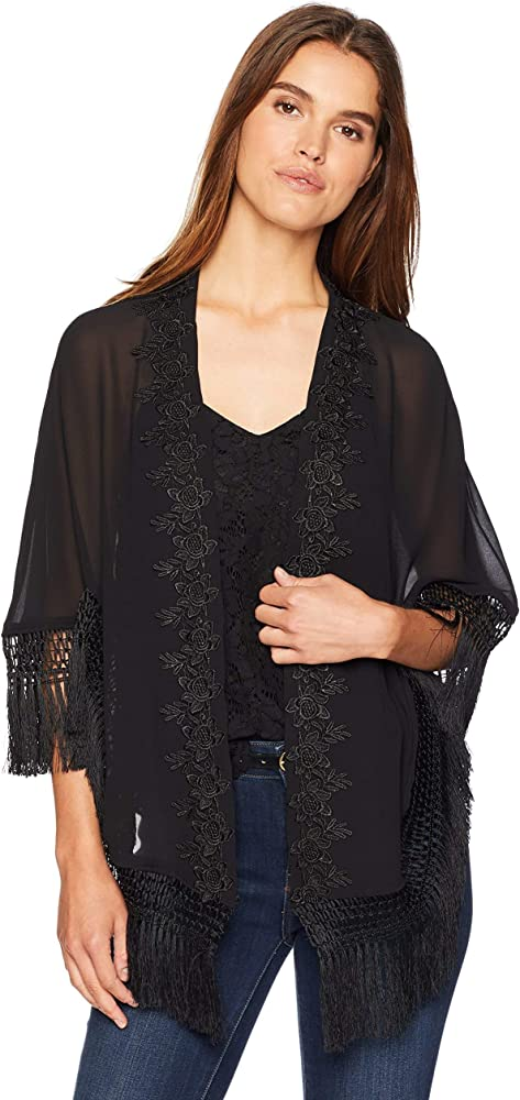 5469ddb4a LAUNDRY BY SHELLI SEGAL Women's Sheer Kimono W/Lace, black, One Size ...