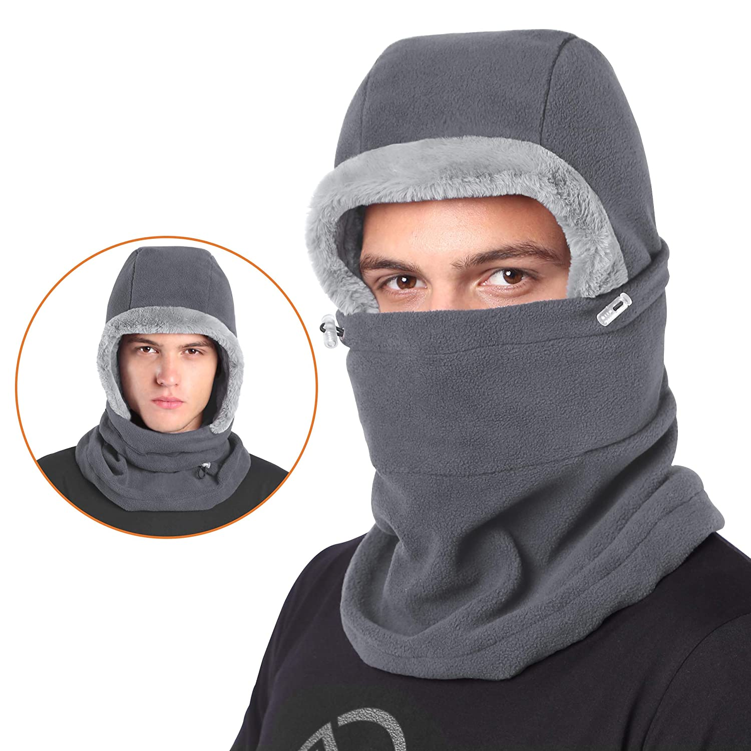 DIMPLES EXCEL Balaclava Fleece Hood Winter Warmer Ski Face Mask Men Women