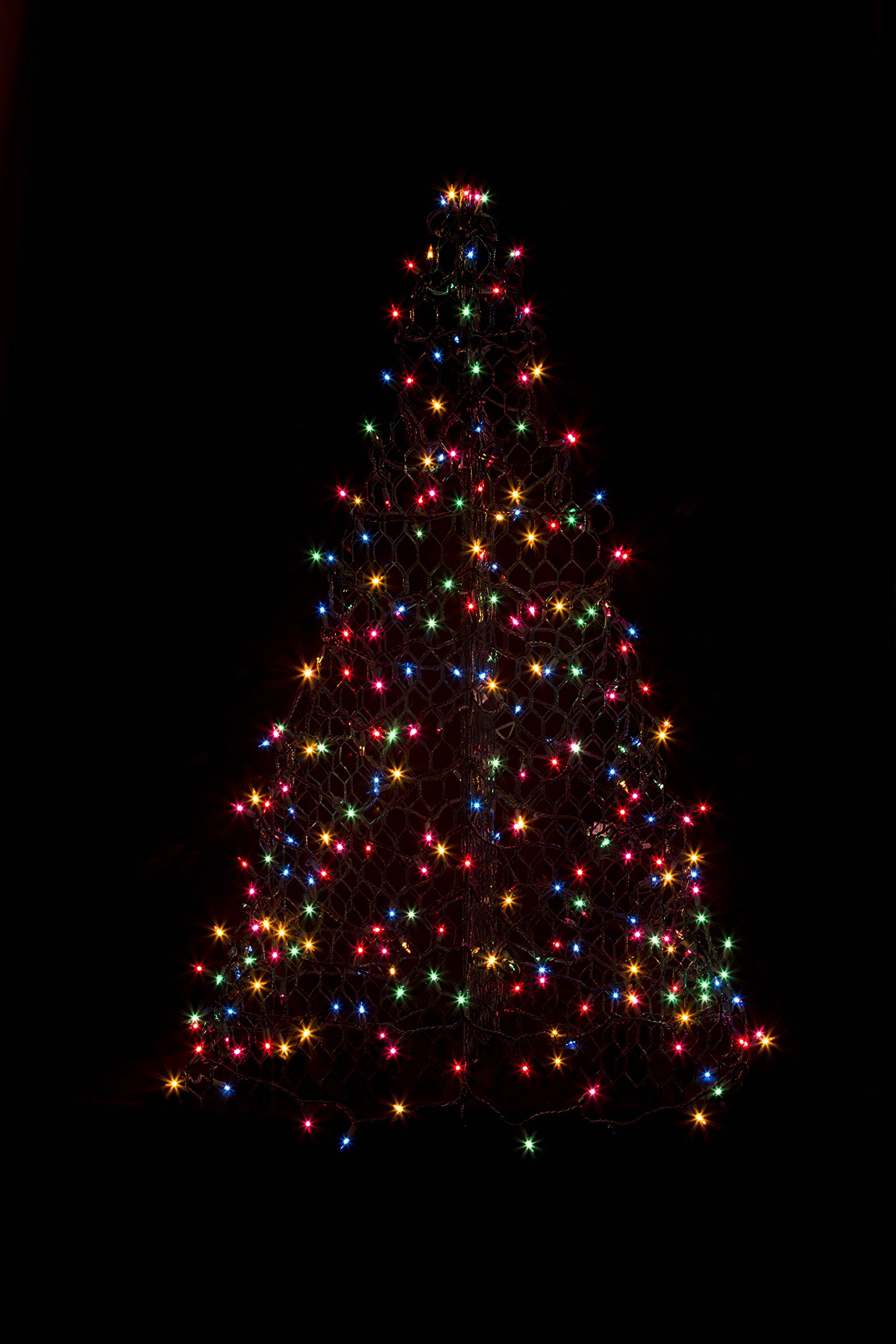 5 ft. Indoor/Outdoor Pre-Lit LED Artificial Christmas Tree with Green Frame and 280 Multi-Color Lights by Crab Pot Trees