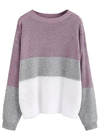 2e41b86680 Milumia Women's Drop Shoulder Color Block Textured Jumper Casual Sweater ( Small, Purple)