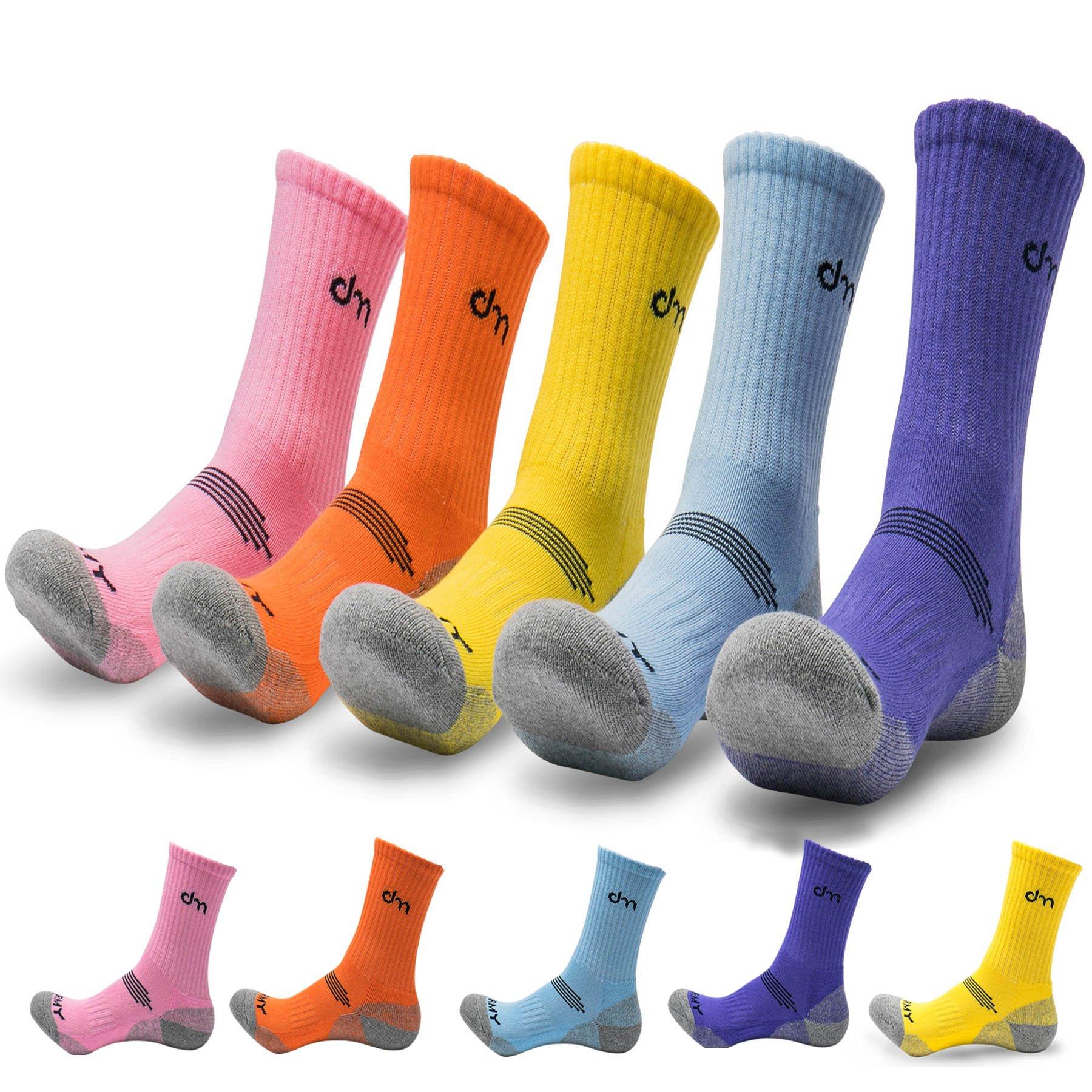 5Pack of Women's Multi Performance Cushion Outdoor Hiking Crew Socks | Mountain Biking,Trekking | Moisture Wicking | Year Round (Small (Shoe size 6-8 US), 5 Pack- Orange/Yellow/Purple/Sky Blue/Pink)