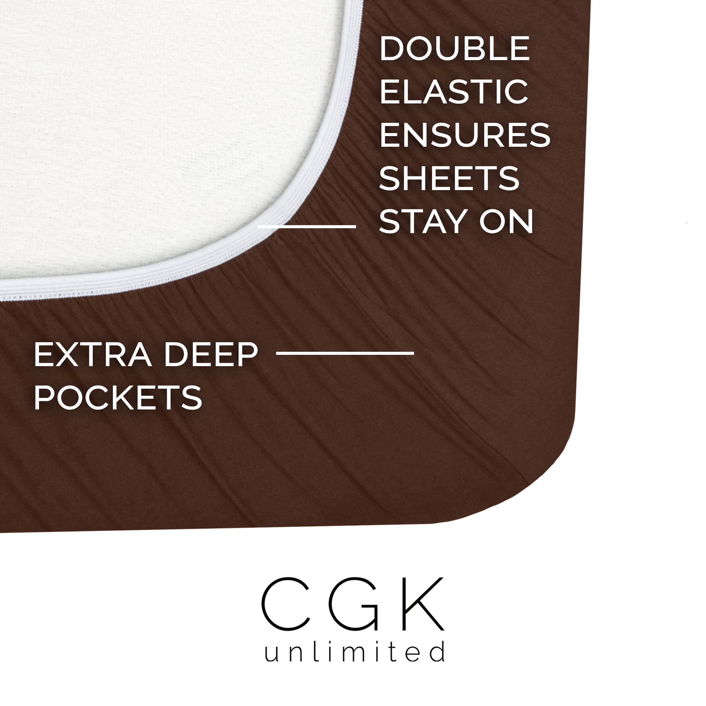 Twin XL Sheet Set - 3 Piece - Fits College Dorm Rooms - Hotel Luxury Bed Sheets - Extra Soft - Deep Pockets - Easy Fit - Breathable & Cooling - Brown Chocolate Bed Sheets - Twins by CGK Unlimited (Image #2)