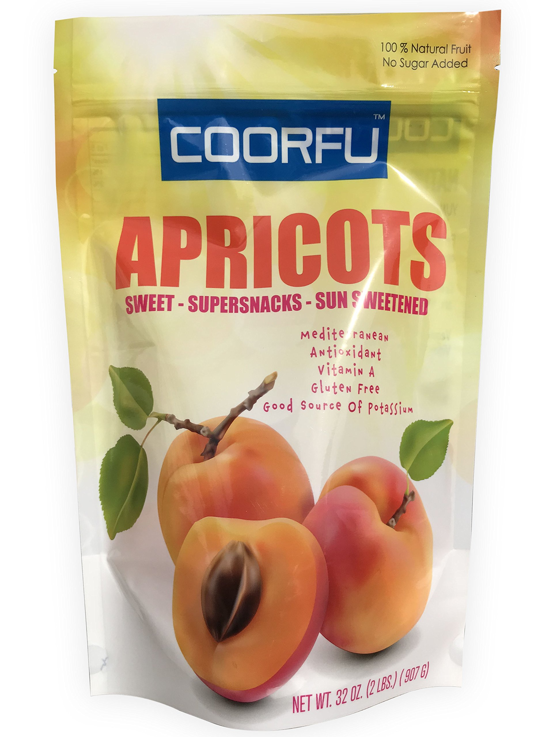 Coorfu Dried Turkish Apricots in Resealable Bag, Jumbo Size, 2 Lbs. (32 oz )