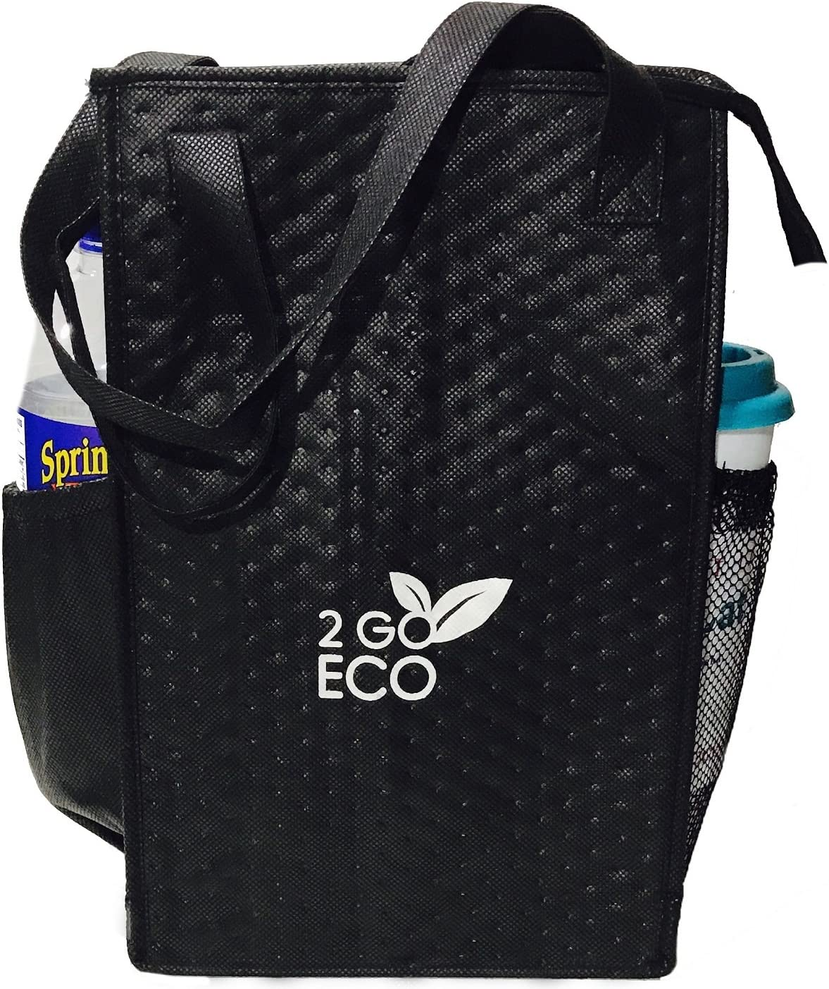 2GOECO Insulated Lunch Tote Bag | Wine and Water Bottle Carrier | Tall Thermal Cooler | Black