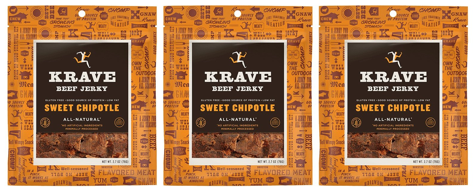 All Natural Beef Jerky - Sweet Chipotle - 2.7 Ounces Each (Pack of 3)