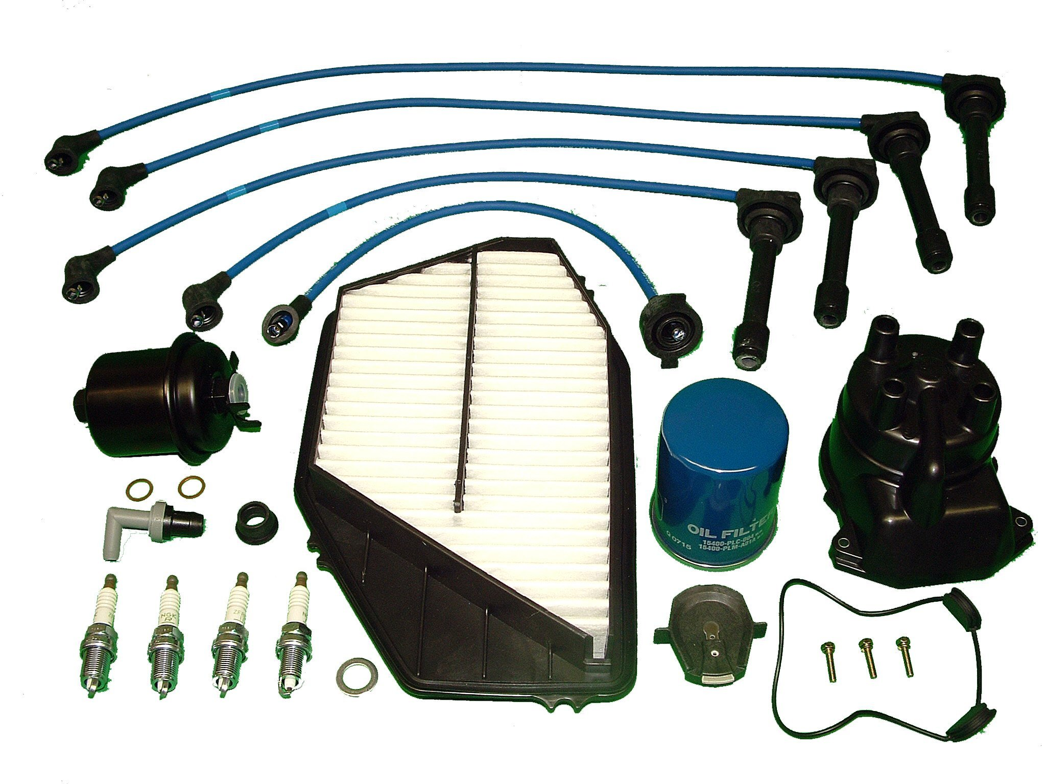 Tune Up Kit Replacement For Honda Accord EX 1994 to 1997 Includes oil air fuel pcv valve and grommet NGK Wires and Spark Plugs Japanese made distributor cap and rotor by TBK Timing Belt Kit