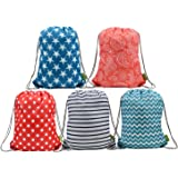 BeeGreen Water Resistant Ripstop Polyester Drawstring Bags Kids Backpacks with Pattern Printing on 2 Sides, 5 Designs in a Set