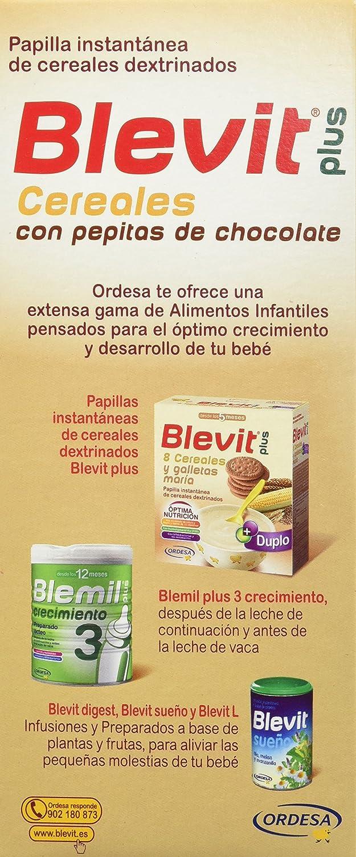 Blevit Plus Trocitos Cereales con Pepitas de Chocolate - Paquete de 2 x 300 gr - Total: 600 gr: Amazon.es: Alimentación y bebidas