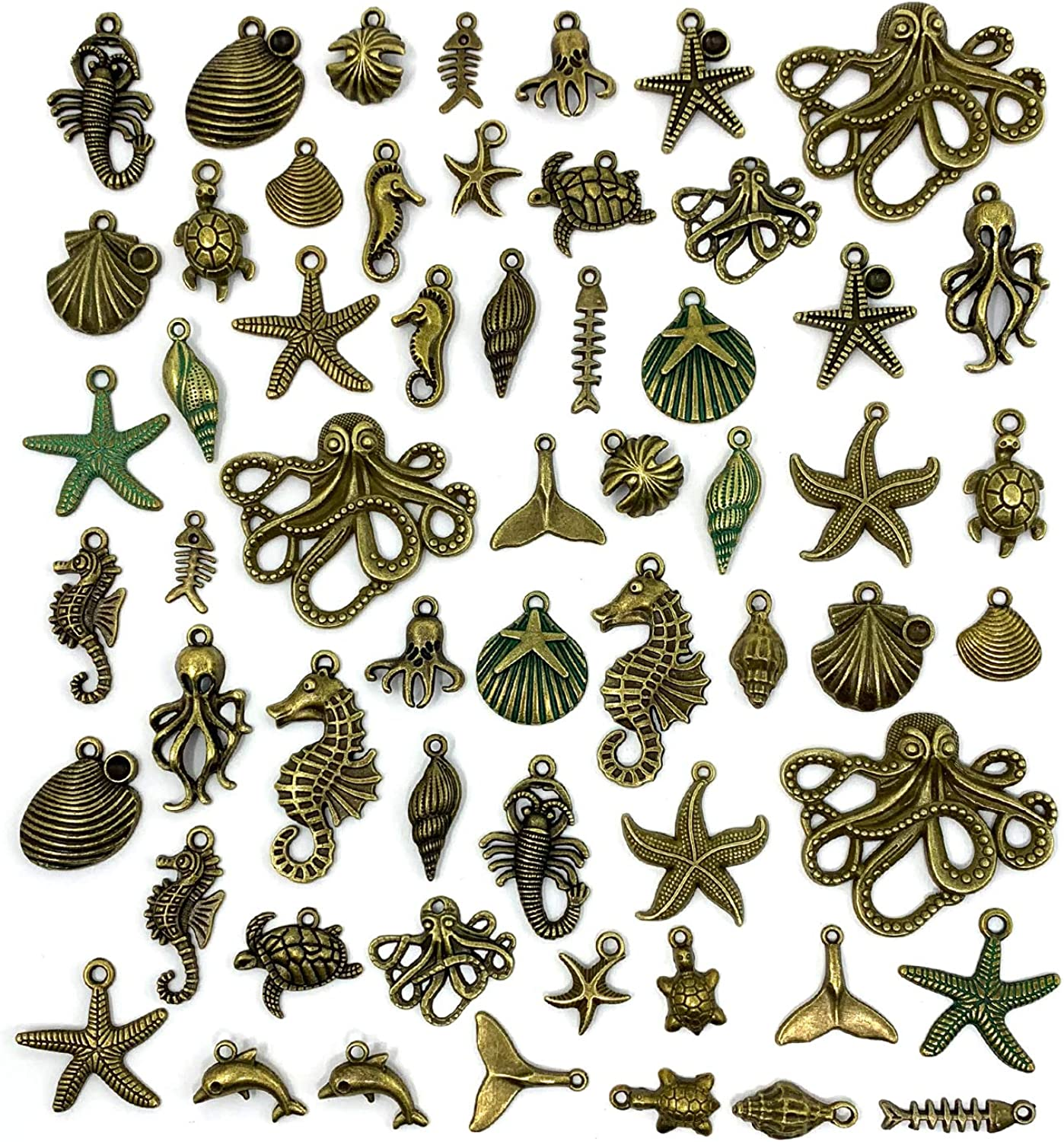 JIALEEY 100 Gram Assorted Antique Ocean Themed Charms Bronze Ocean Fish Sea Creatures Beads Pendants for Jewelry Making and Craft Making
