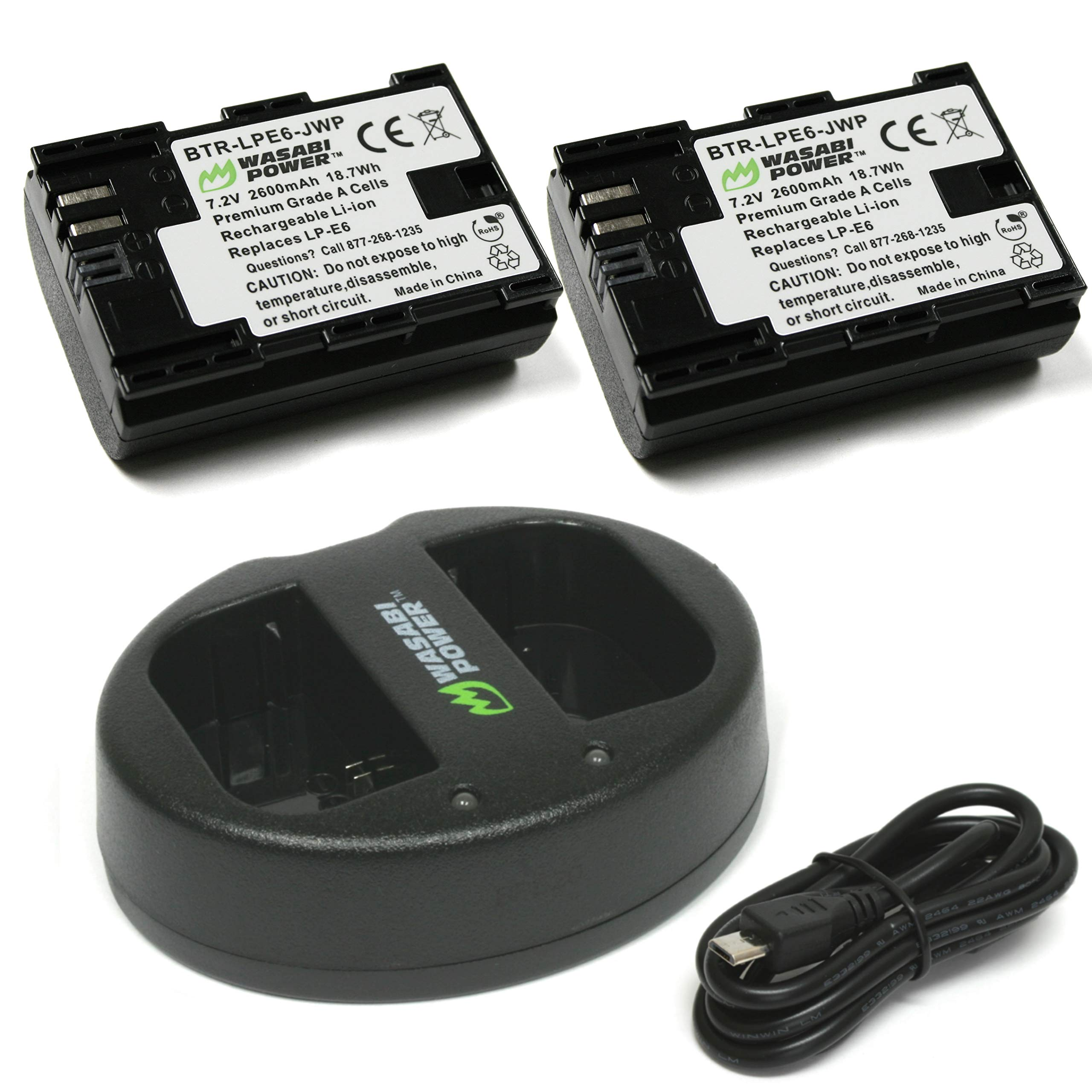Wasabi Power LP-E6, LP-E6N Battery (2-Pack) and Dual Charger for Canon EOS 5D Mark II/III/IV, EOS 5DS, 5DS R, EOS 6D, 6D Mark II, EOS 7D, 7D Mark II, EOS 60D, 60Da, 70D, 80D, EOS R, XC10, XC15 by Wasabi Power