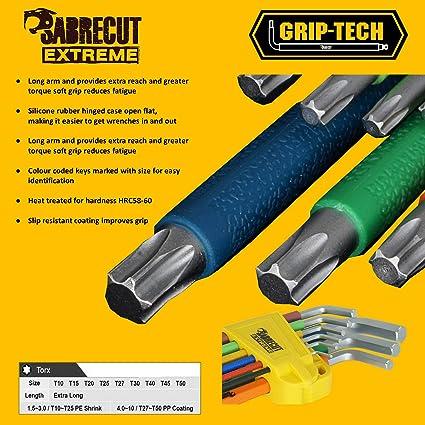 SabreCut SCTX009S - Juego de llaves Torx (9 unidades, mango suave, tamaño T10-T50)