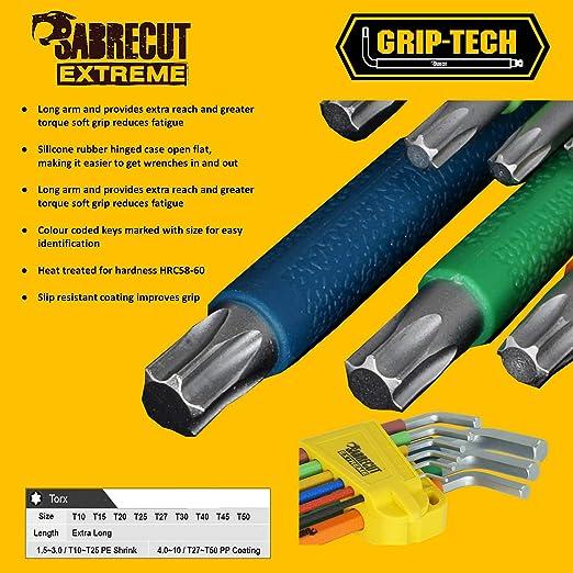 SabreCut Extra Long HEX Allen Metric key Set Mixed Colour set 9pc Wera Soft Grip