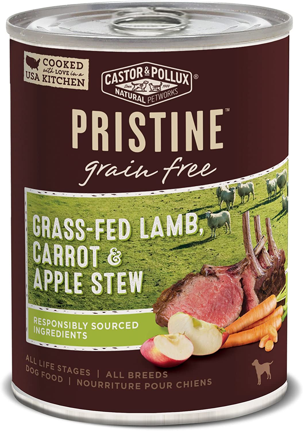 Castor & Pollux Pristine Grain Free Grass-Fed Lamb, Carrot & Apple Stew Canned Dog Food, (12) 12..7oz cans