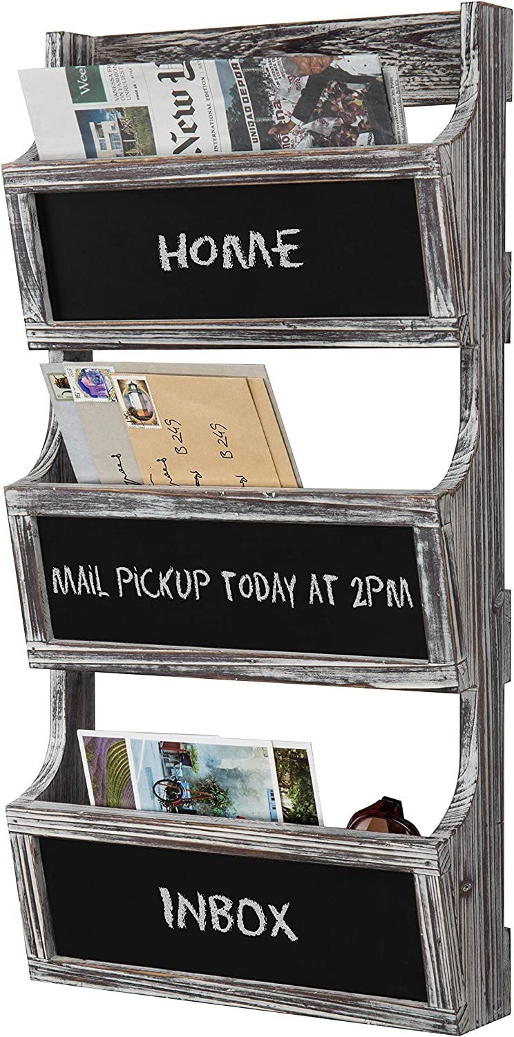 MyGift 3-Slot Torched Wood Wall Mounted Magazine Rack & Mail Sorter with Chalkboard Labels