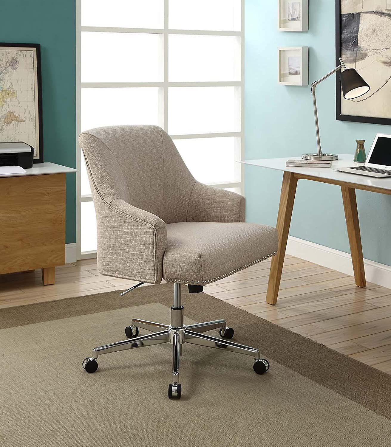 Serta Style Leighton Home Office Chair, Twill Fabric, Beige
