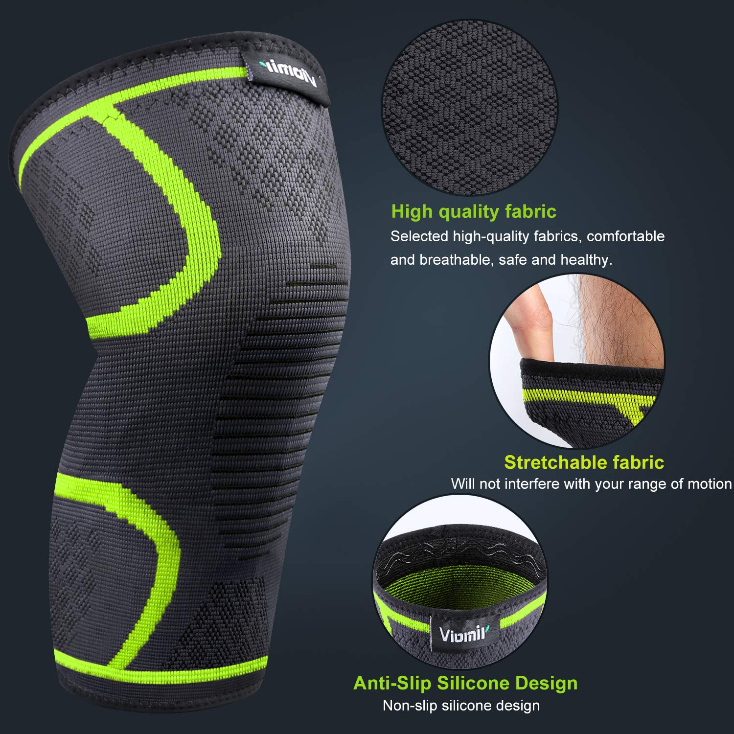 ACL Sports Knee Compression Sleeve for Running Meniscus Tear Arthritis Viomir 2 Pack Knee Brace Joint Pain Relief and Injury Recovery