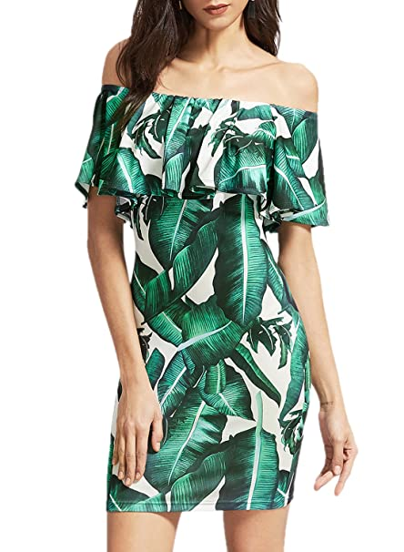 ACHICGIRL Mujer Vestido Ajustado Hojas Estampadas Volantes Fuera de Hombro,verde XL