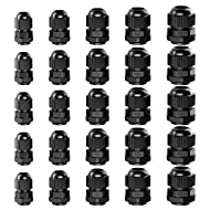 GiBot Cable Glands - 25 Pack Plastic Waterproof 3.5-13mm Cable Glands Joints Wire Protectors, PG 7/9/11/13.5/16, Black