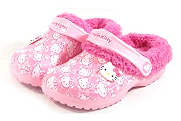 6524249885d5 Amazon.com   Hello Kitty Kids Fur Warm Slippers Shoes for Girls Clogs Crocs  Style Pink US Size 10 House Garden   Baby