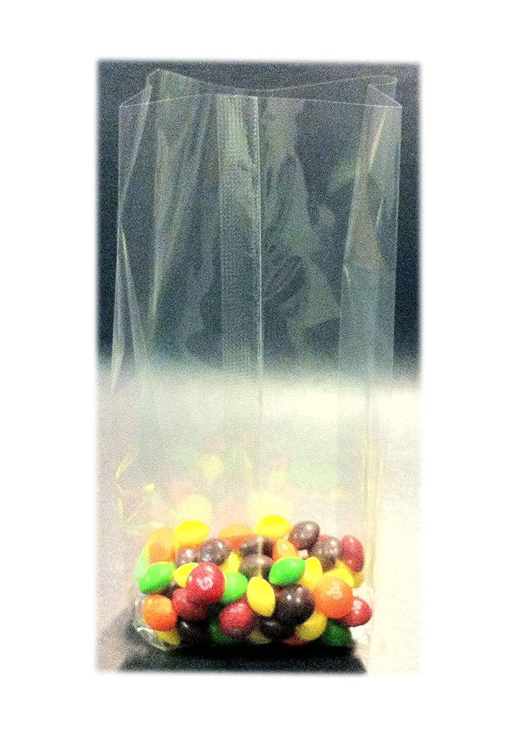 100 Pcs 5x4x15 Clear Side Gusseted Cello Cellophane Bags Good for Candy Cookie Bakery (by UNIQUEPACKING) 6280192